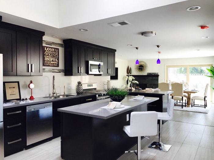 Cuisine et salon Style contemporain